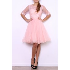 Cocktail dress made of tulle / lace with transparent arm-R9089