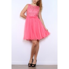 Cocktail dress of tulle with wide straps-R9090