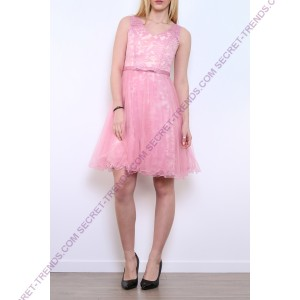 Two-colored cocktail dress in light tulle with straps R9100