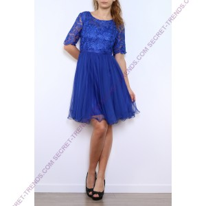Cocktail dress of tulle / lace with arm -R9107