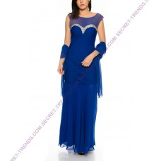 Beautiful evening dress with a figurine toned cut from chiffon and decorated rhinestones at dekolleté R0327
