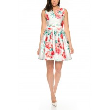 Beautiful summer dress with satin floral pattern by Charm's -M762-55