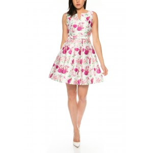 Elegant Summer Dress With Roses Satin Pattern by Charm's M762-61