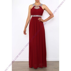 Charming evening dress in chiffon with decorated rhinestone at the neck and at the waist R8118