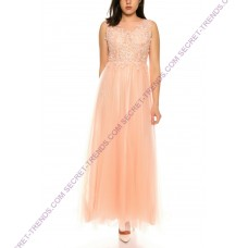Elegant evening dress with lace patchwork and embellished pearls at the top by Charm's R9105