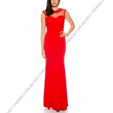 Beautiful bodycon jersey evening dress with embroidered beads on the neck and shoulder blade J8600