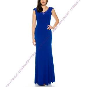 Beautiful elegant maxi jersey evening dress with V-neck J8635