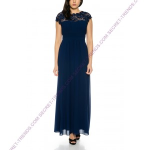Beautiful simple maxi evening dress with ruffles on the chest and closed neckline of floral lace M1516