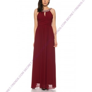 Chiffon evening gown with straps and decorated stones at the neckline of Charm's M-815
