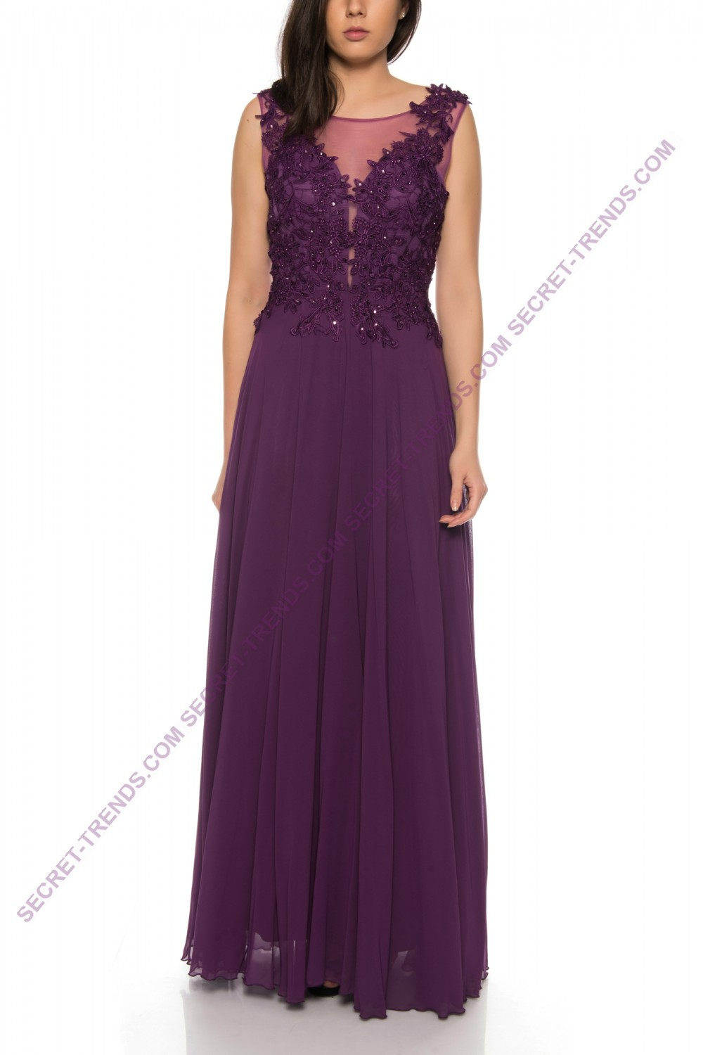 Beautiful Elegant Chiffon Evening Dress A-Line With Top Made of Fine ...
