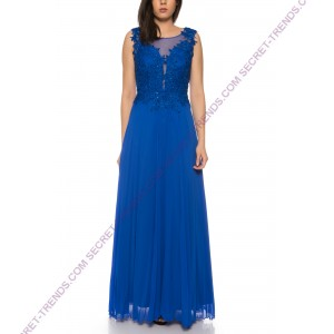 Beautiful Elegant Chiffon Evening Dress A-Line With Top Made of Fine Lace Embroidery by Juju & Christine R1590