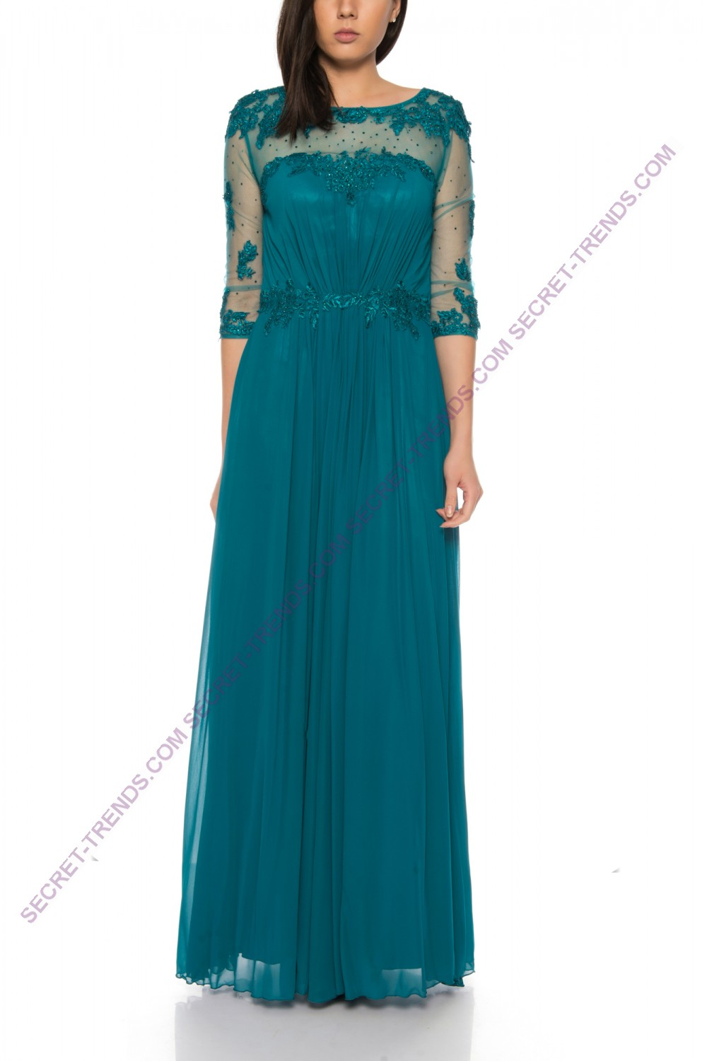 Elegant evening dress in chiffon with lace embroidery and ...
