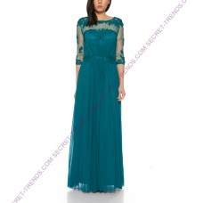 Elegant evening dress in chiffon with lace embroidery and transparent arm by Juju & Christine R1591