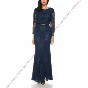 Beautiful Figurbetontes evening dress with long sleeves and a belt at the waist of Juju & Christine R1595