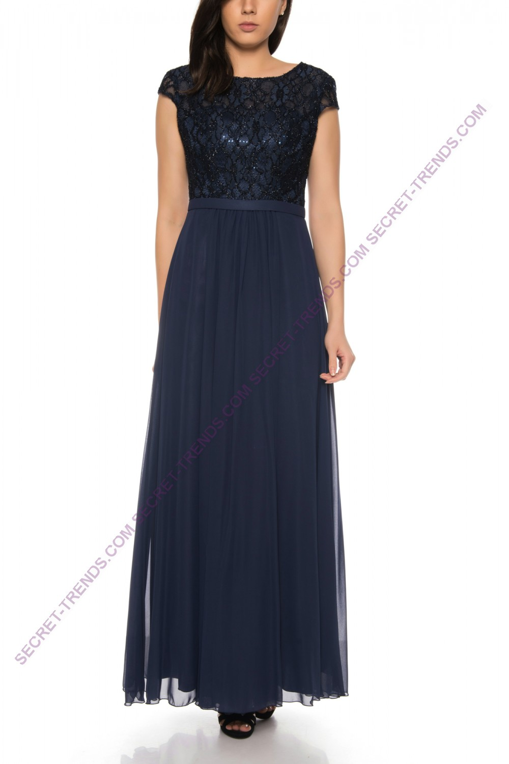 Juju & Christine Chiffon Evening Dress with Lace Top R1599