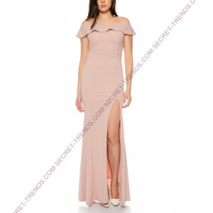 Beautiful offshoulder evening dress long with a side slot R8383