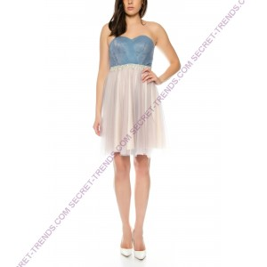 Princess cocktail dress made of chiffon pink multi colored