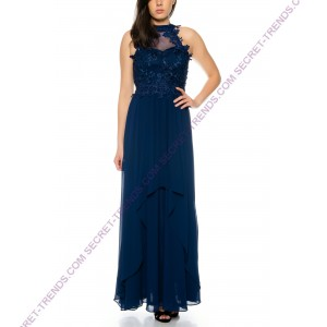 Elegant Halter Maxi evening dress with floral embroidery on the top R9119
