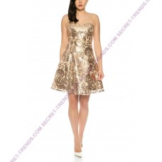 Elegant cocktail dress with ornate sequins pattern and transparent straps R9130