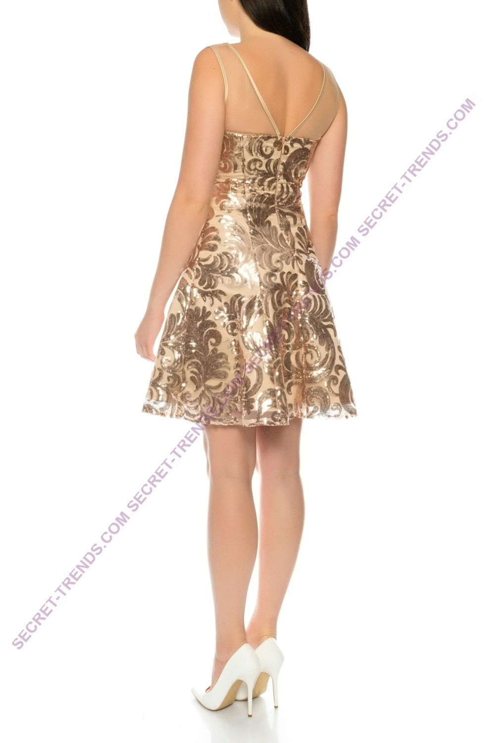 Elegant cocktail dress with ornate sequins pattern and transparent ...
