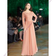 Beautiful Elegant maxi evening dress with floral lace long sleeves R1622