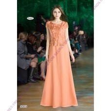 Charming evening dress A-line of chiffon with fine embroidery on the top of Juju & Christine