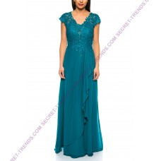Beautiful Elegant Chiffon Evening Dress A-Line With Top Made of Fine Lace Embroidery by Juju & Christine R1628