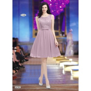 Elegant Cocktail Dress with Lace Top and Skirt in Chiffon -1569