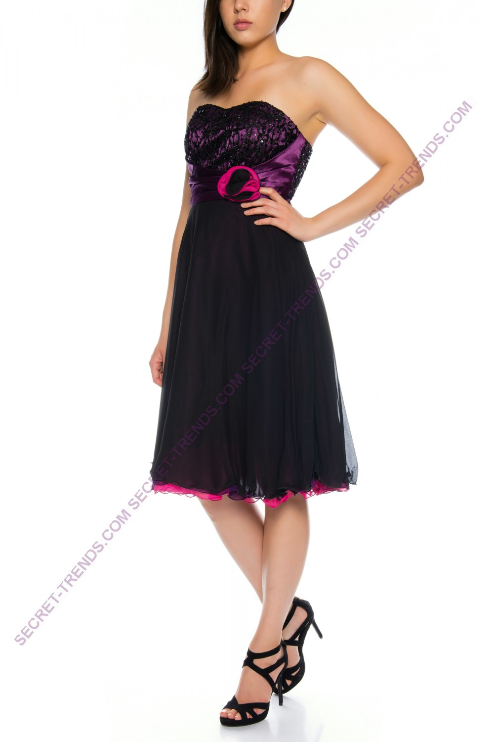 Three-layer chiffon dress in different colors R1178