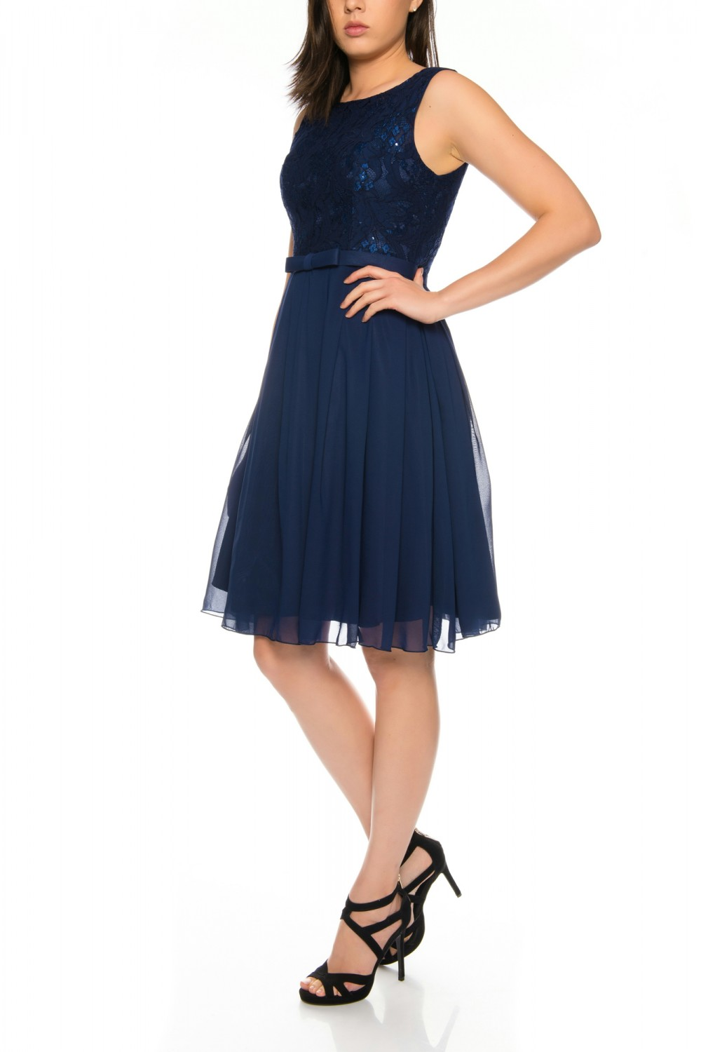 Elegant Cocktail Dress with Lace Top and Skirt in Chiffon -R1579