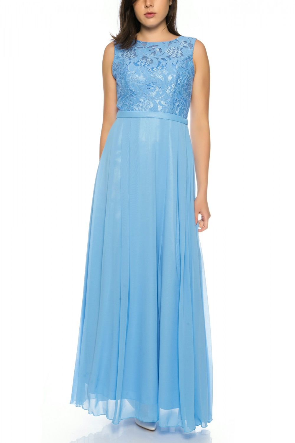 A charming evening dress made of flowing chiffon with a fine lace ...