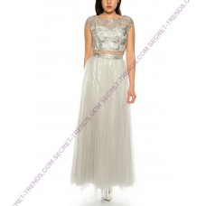 Elegant second-tier evening dress made of tulle with floral print by Juju & Christine-R1582