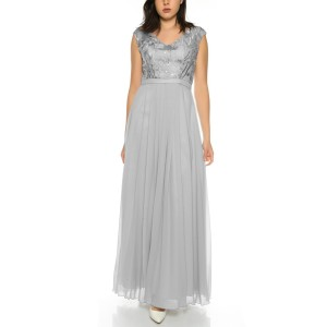 Elegant evening dress with floral lace top and flowing chiffon R1583