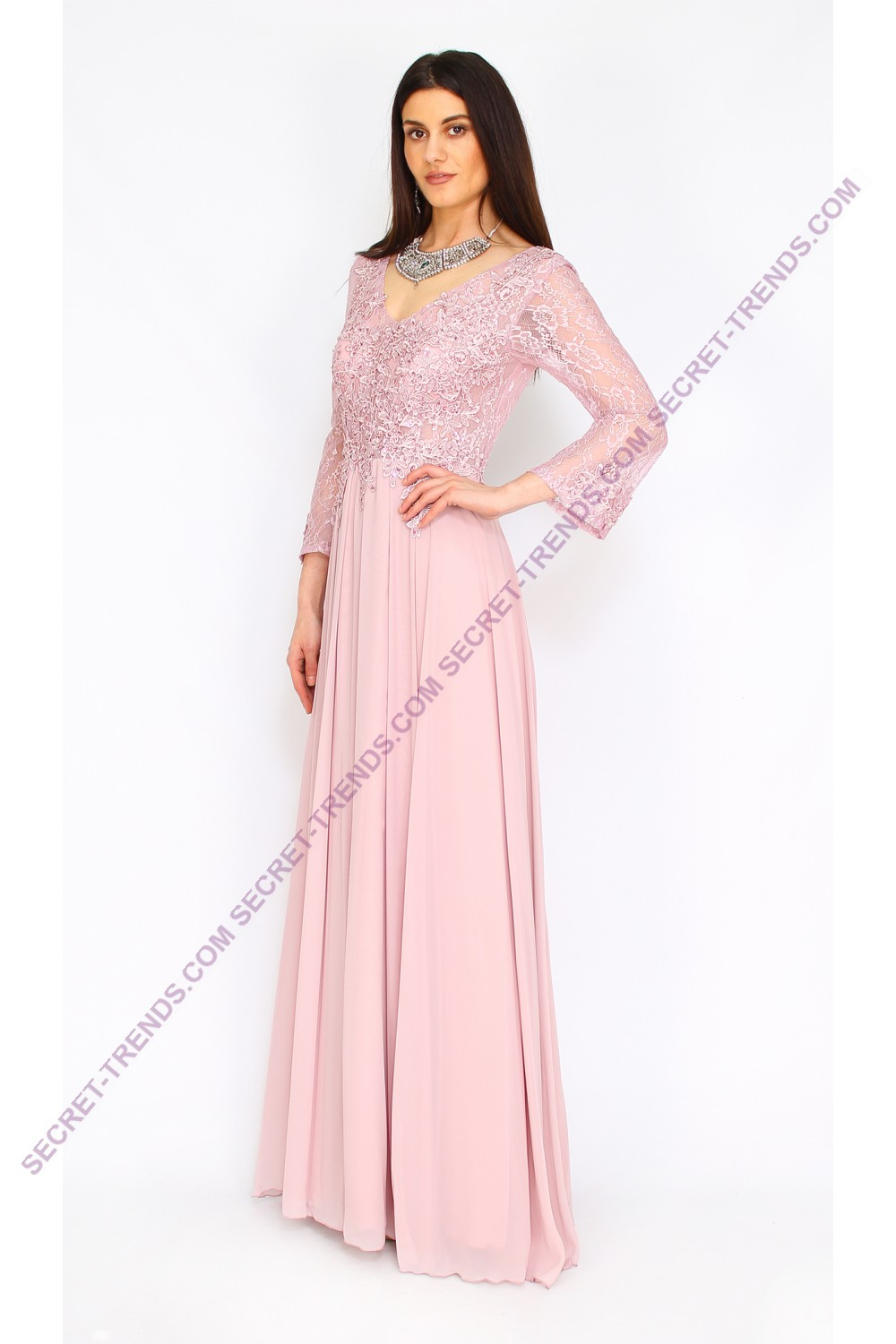 Elegant evening dress long sleeved with floral lace by Juju ...