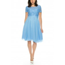 Short sleeve elegant cocktail dress with top from Juju & Christine R1588