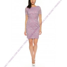 Elegant cocktail dress half-bodied of fine floral lace and decorated rhinestone at the waist of Lautinel R8078