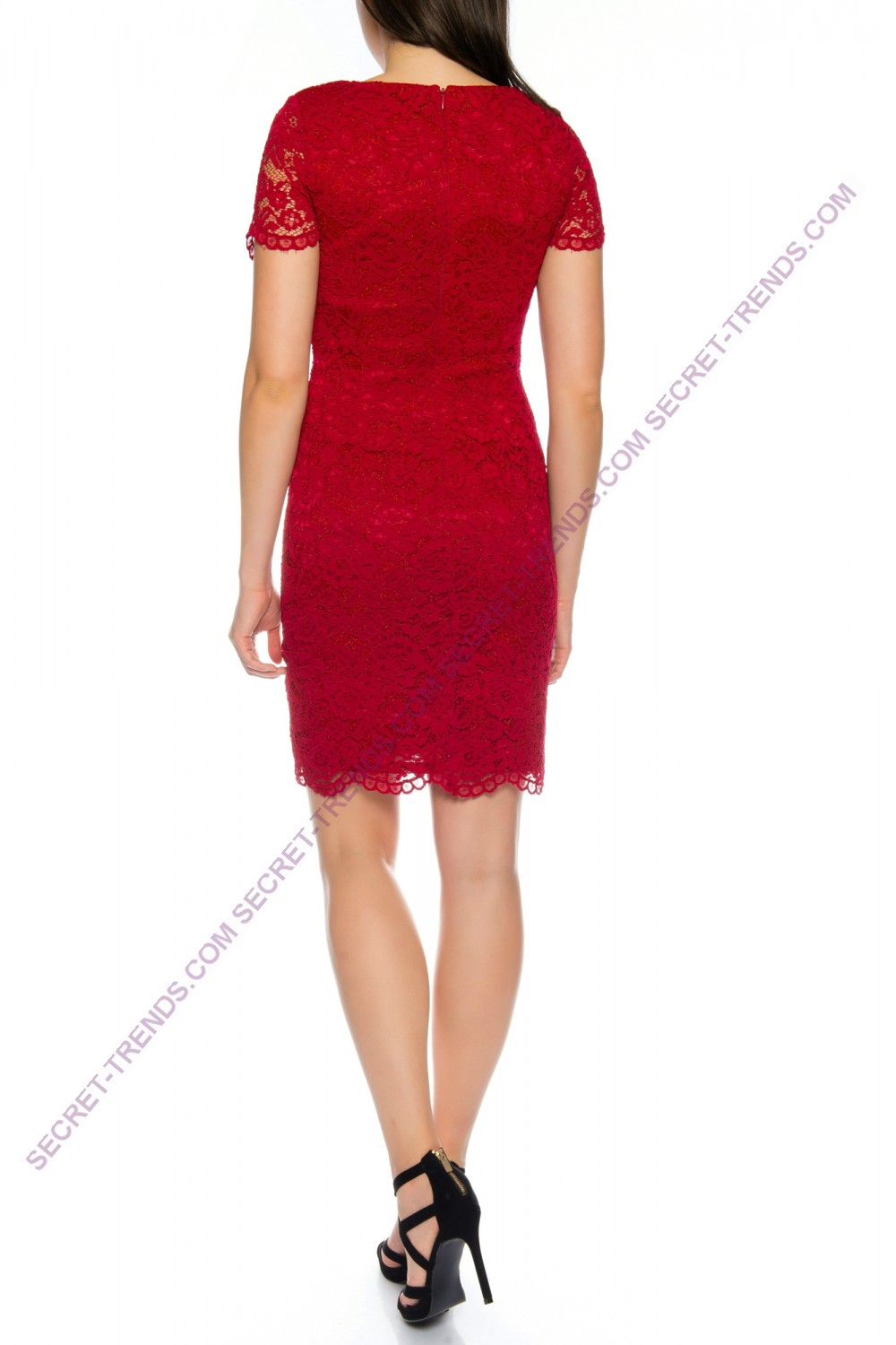 Elegant cocktail dress half-bodied of fine floral lace and decorated ...