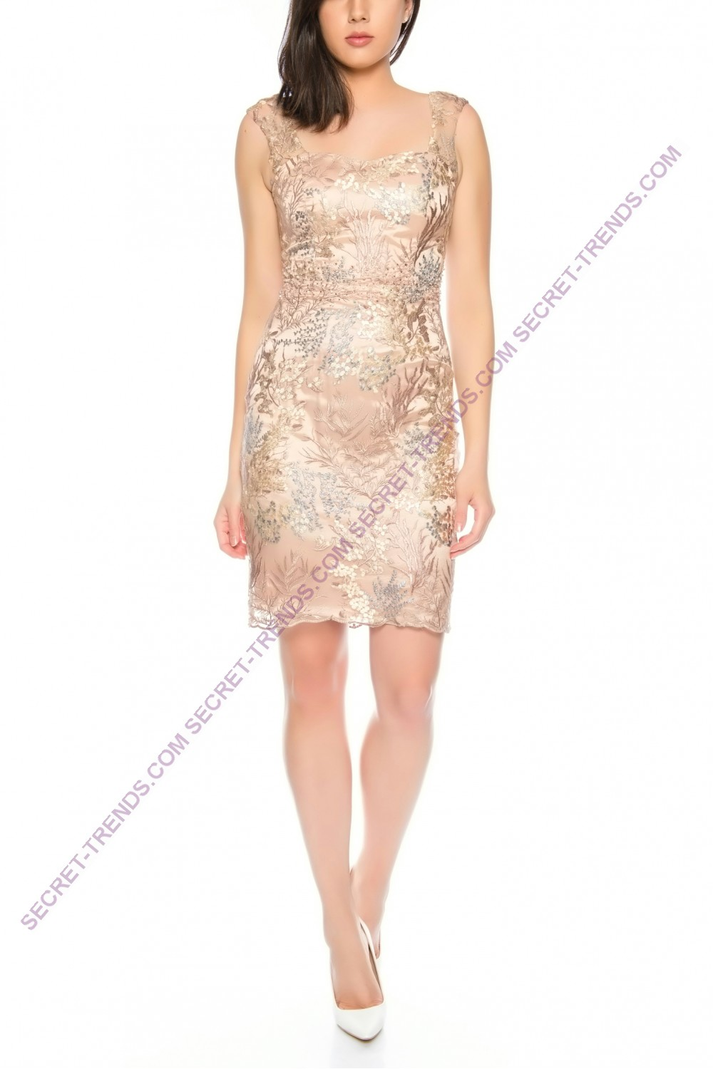 High-quality cocktail dress with floral embroidery and straps from ...