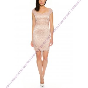 Elegant cocktail dress with floral lace and decorated pearls at the waist of Lautinel * R8091
