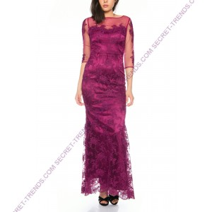 Elegant lace evening dress with transparent 3/4 of Lautinel long sleeve R8107