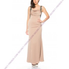Beautiful discreet evening dress with top course on the straps to back R8108