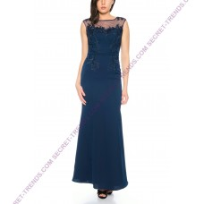 Figurbetontes evening dress with floral patchwork and transparent straps by Juju & Christine R8109