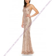 Charming evening dress with mermaid-style rhinestones TU001