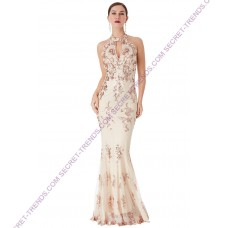 SEQUIN EMBROIDERED HALTERNECK MAXI DRESS D1387C