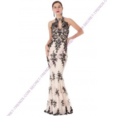SEQUIN EMBROIDERED HALTERNECK MAXI DRESS D1387
